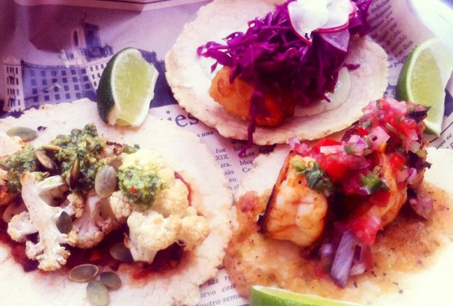 Sample all three fish tacos for $11.