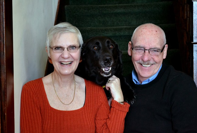 Hosts Nigel and Tessa Dearsley with a furry companion. Green Woods Inn is pet friendly.