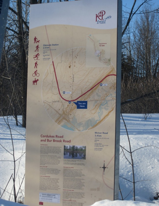 Informative signs are posted at all entry points to the K&P trail.