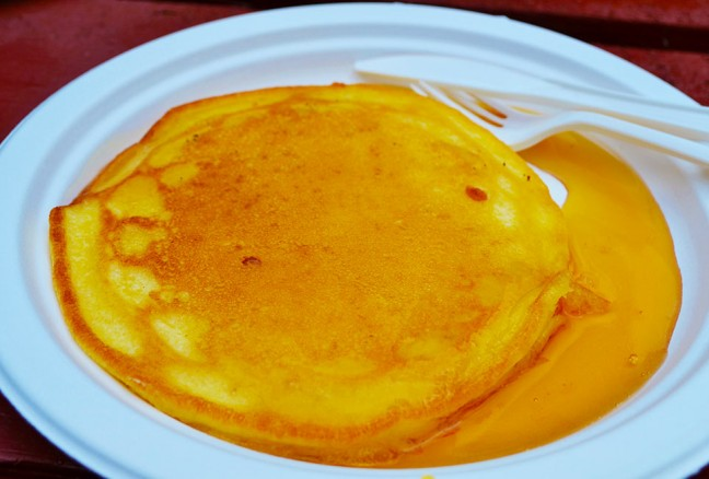 Fluffy pancakes served to you in a matter of minutes topped with real maple syrup.