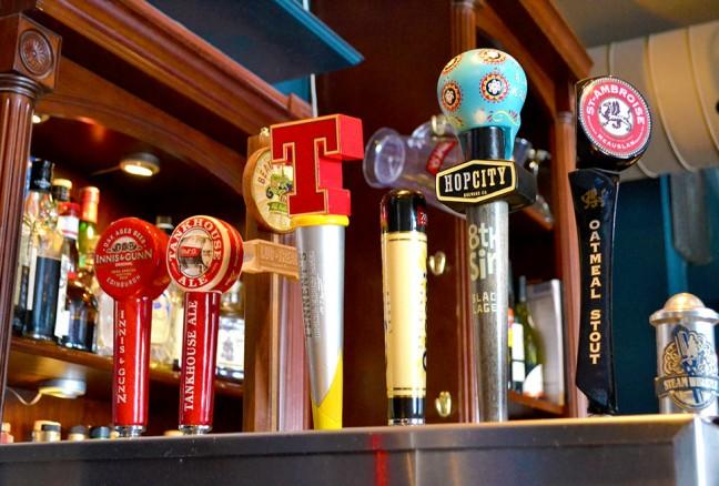 Local and imported beer on tap.