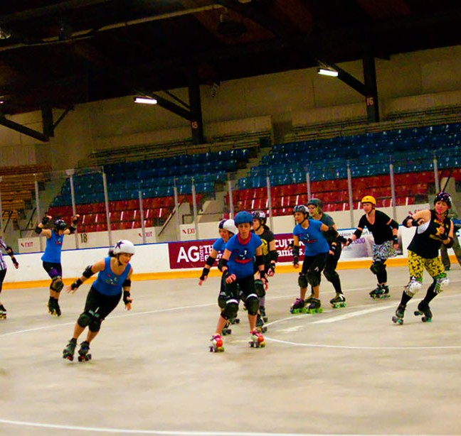 The Kingston Derby Girls practice for their season opener bout on Saturday May 10th at the Memorial Centre