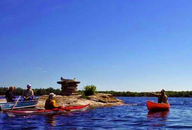 The canoeshuk outside Delta, Ontario to mark a historic canoe trade route.
