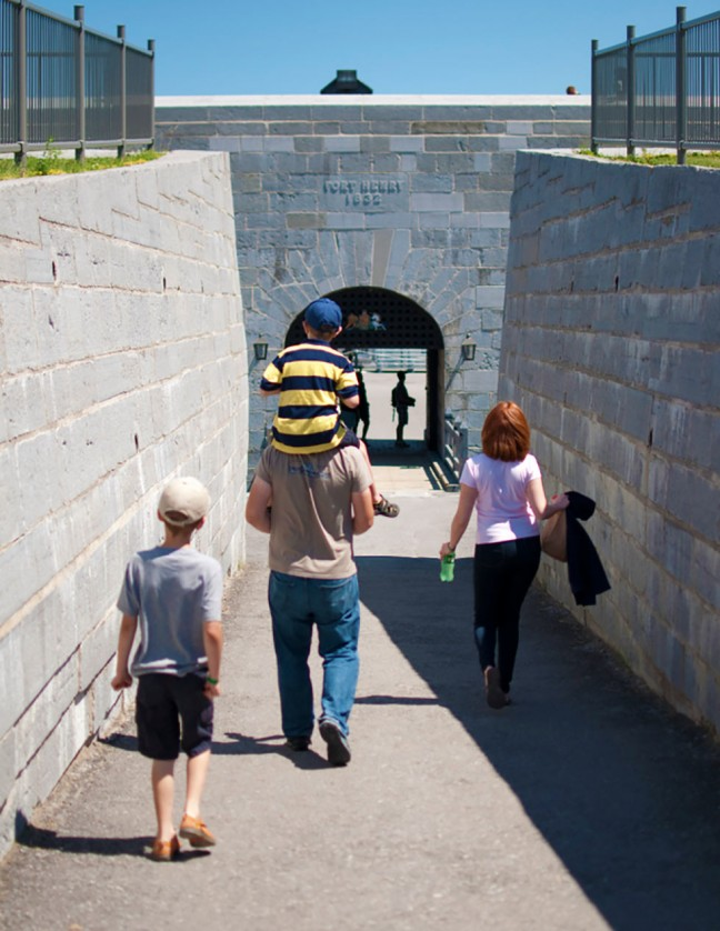 Will, 6 years old, and Tom, 8 years old, join their parents to step back in time to experience 1800s-era military life in Kingston's living military museum – Fort Henry.