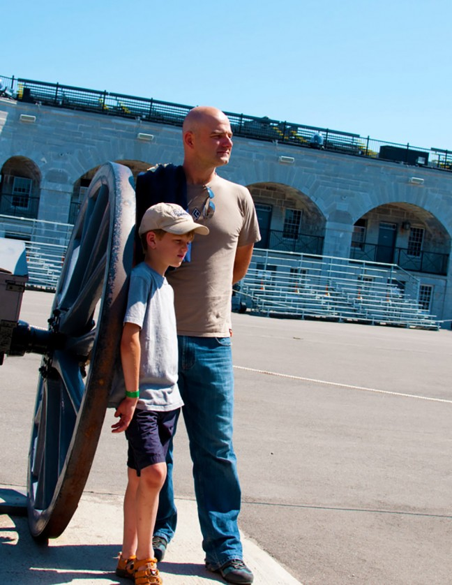 8 year-old Tom and dad, Chris, contemplate how tough military life was in the 1800s.