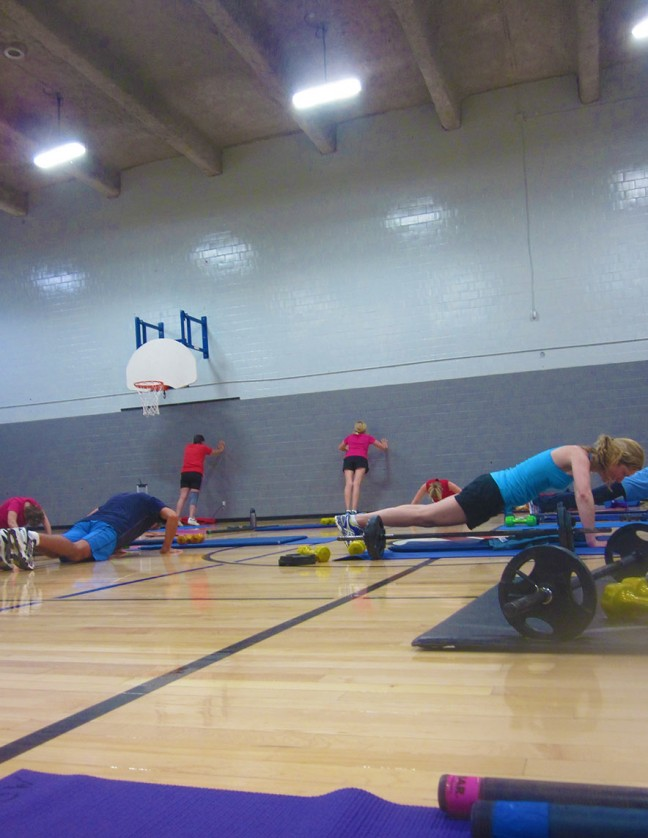 Push-ups can be traditional, from the knees or against the wall.