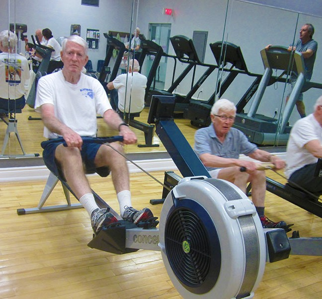 Once Fit for Life participants begin work on the rowing machines, there are few smiles; smile muscles are pre-empted by determination muscles.