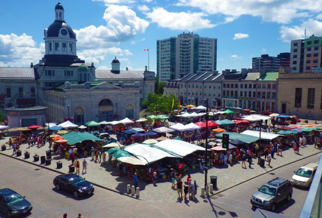 Hop off for a stroll through the public market three days a week.