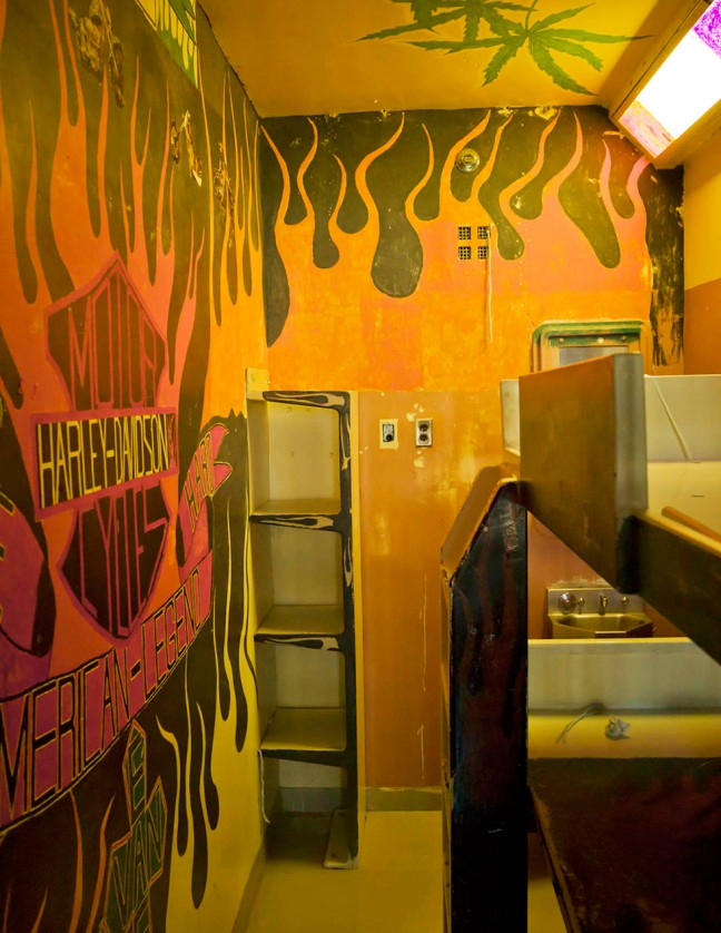 Geoffrey James, Cell decorated with Harley Davidson and East Van logos, Upper E, 2013, archival ink jet print