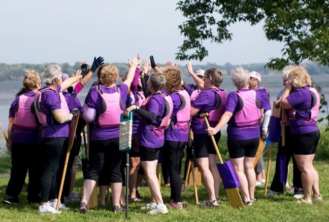 Kingston's Chestmates Dragonboating team getting ready for their race.