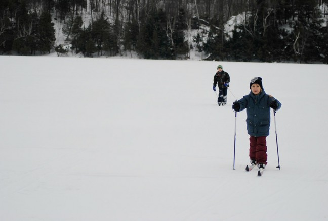 A great day out breaking trail on a backcountry lake north of Kingston.
