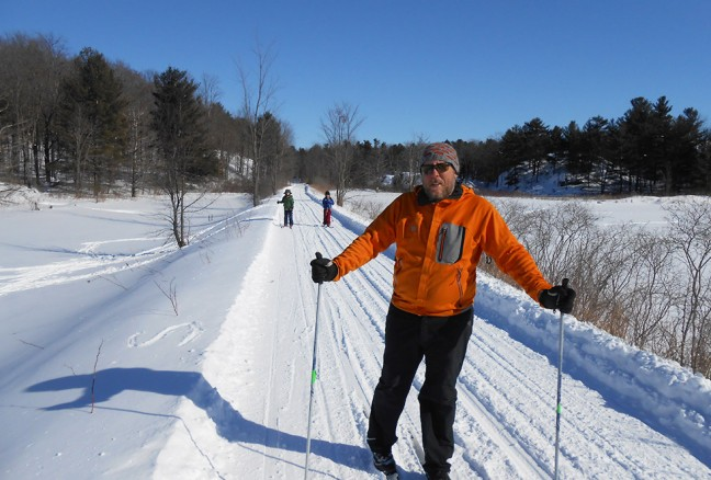 Shawn & the boys on the Cataraqui Trail. It looks groomed, but those are my tracks!