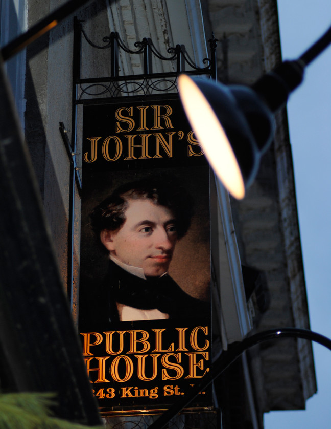 """Sir John's Public House """"Licenced for the sale of Wine, Beer & Spirits …343 King Street East"""