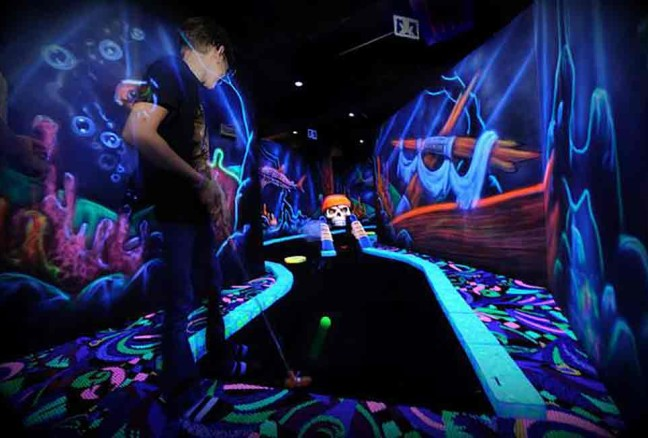 Psychedelic mini putt (photo from Putt N' Blast's Facebook page)