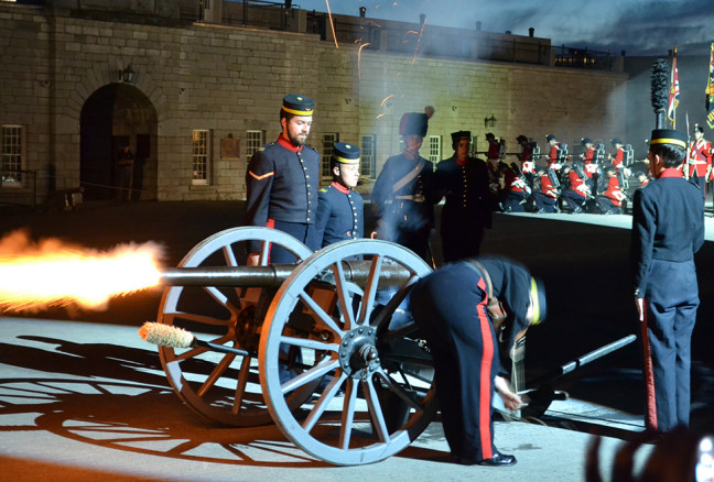 Music is the cornerstone of the Fort Henry Tattoo, but military drills play a big role,too. (Photo: Jordan Whitehouse)