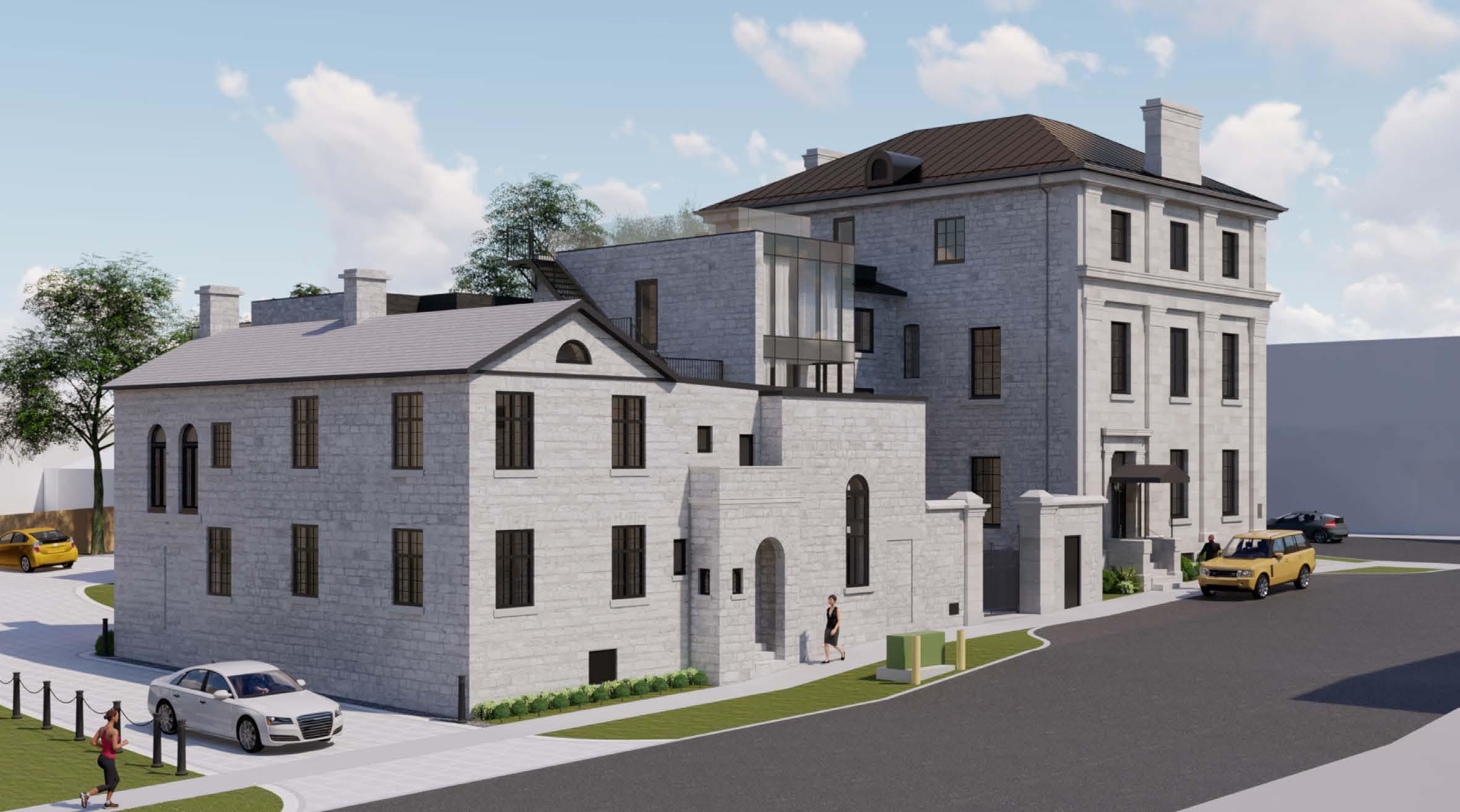 A rendering of Frontenac Club from Ontario Street.
